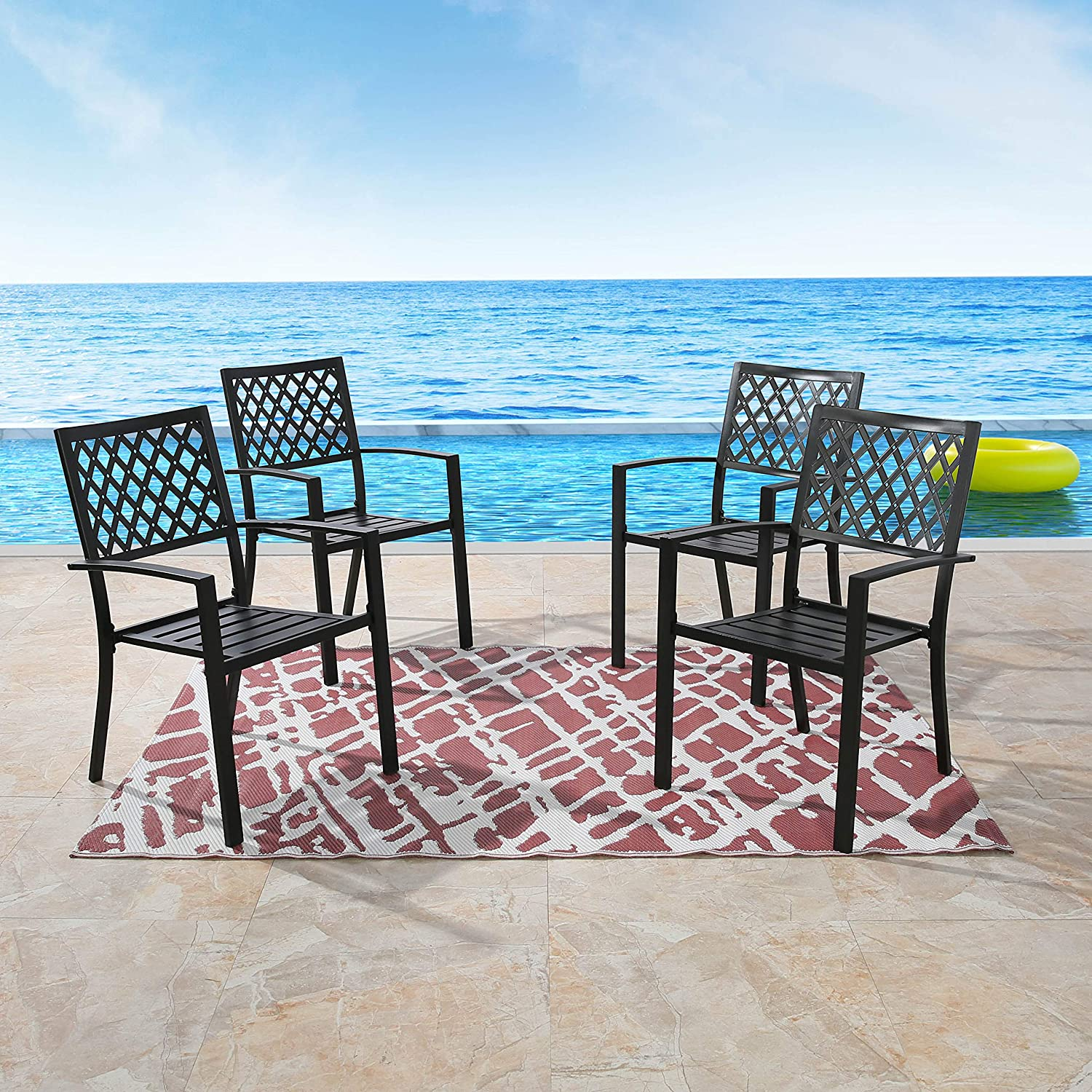 Japan Maker New Patio Tree Stacking 5 ☆ popular Outdoor Dining Chairs Slat Ch Steel Arm Seat