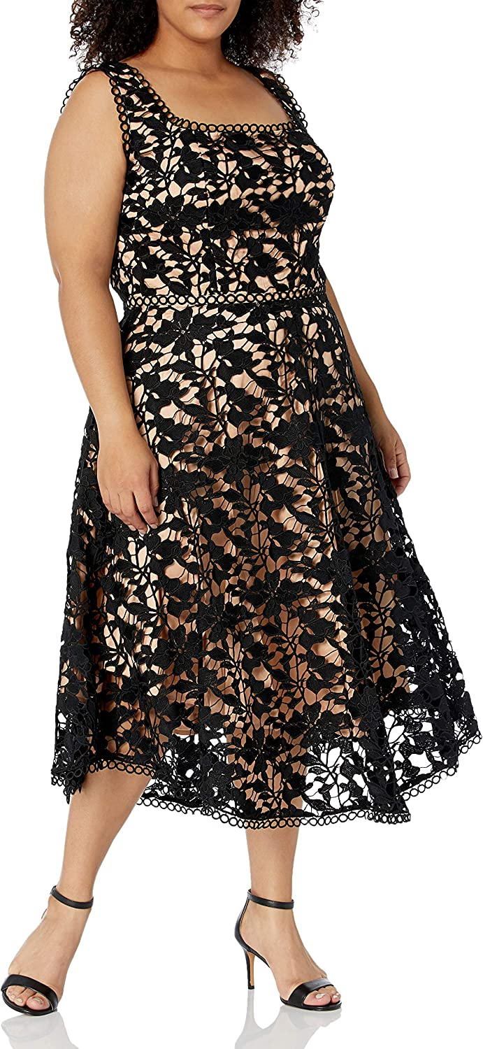 City Chic Women's Apparel Women's Plus Size Square Necked a Line Dress with Lace Overlay