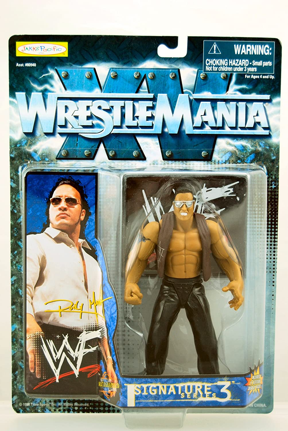 WWF  Wrestle Mania XV  1998  Signature Series 3  Rocky Maivia (The Rock) Action Figure  Display Base  Jakks  Limited Edition  Mint  Collectible