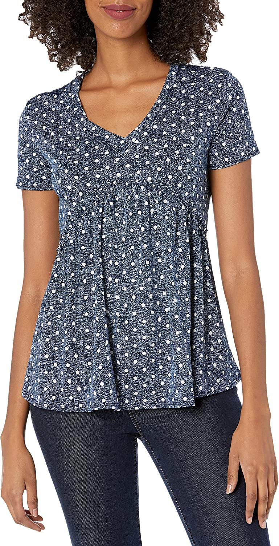 Star Vixen Women's Short Sleeve Babydoll Top with V Neck