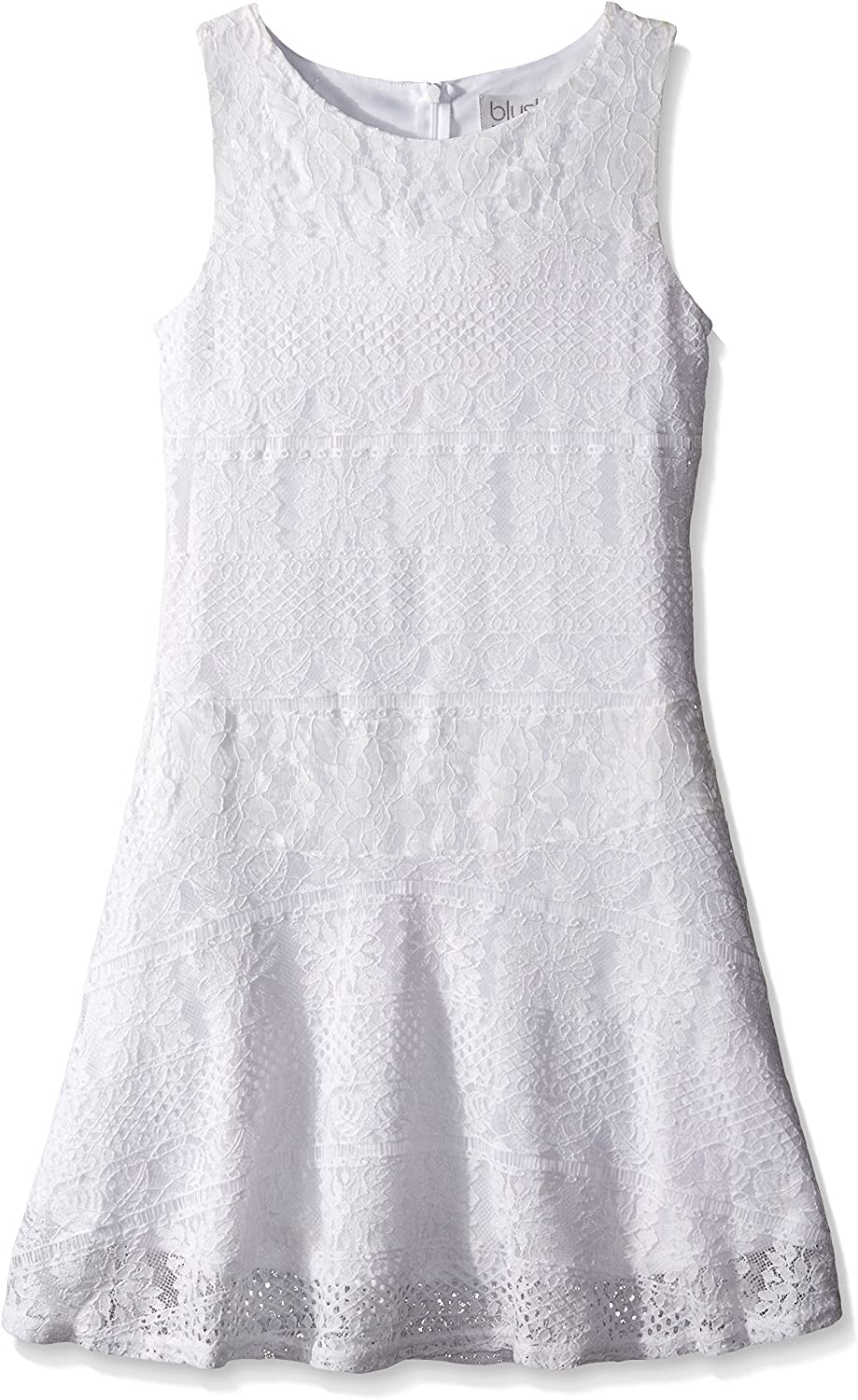Blush by Us Angels Girls' Striped Crochet Lace Dress Sleeveless with Full Skirt
