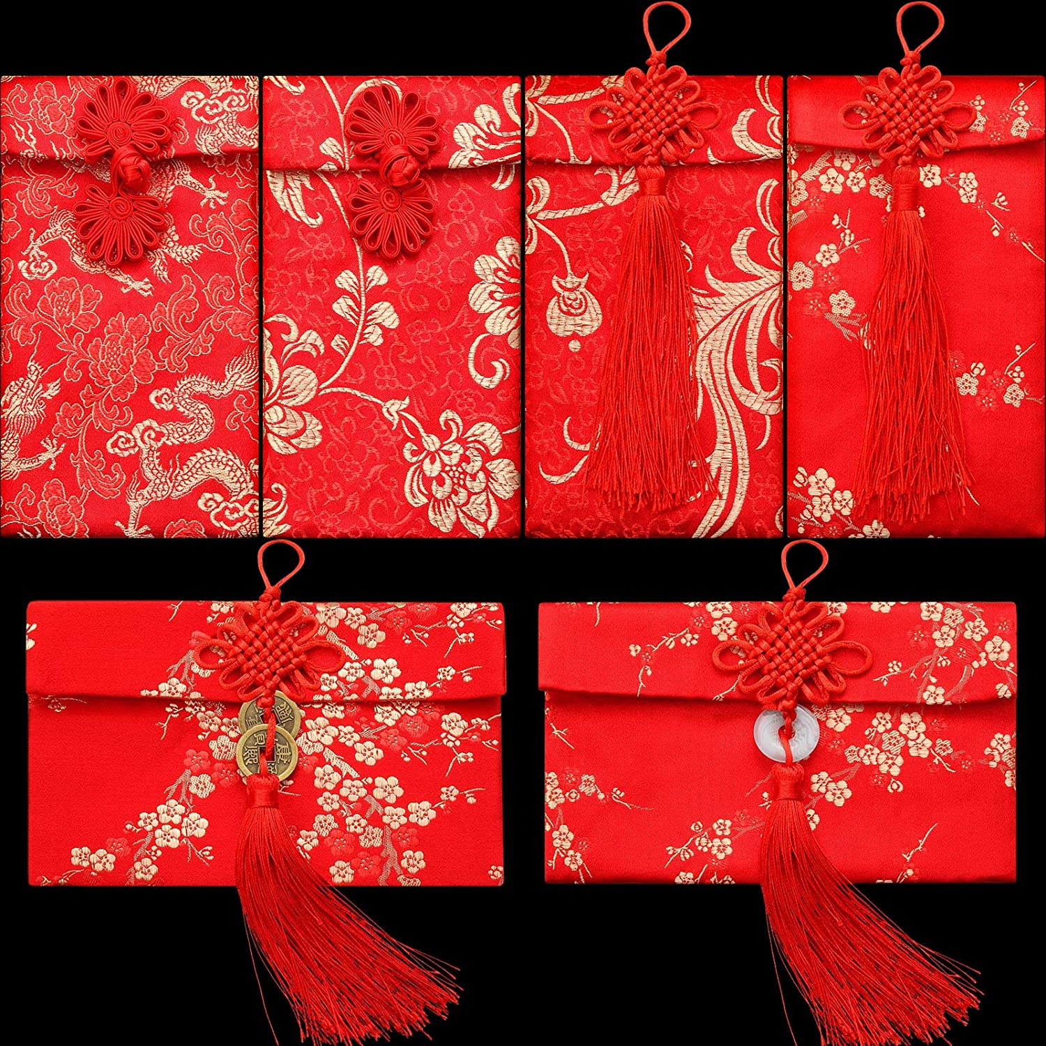 6 Pieces Omaha Mall Silk Red Envelopes Max 77% OFF New HongBao Card Chinese Y