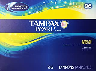 Tampax Pearl Regular Absorbency Unscented Tampons, 96 Count, Pack of 1