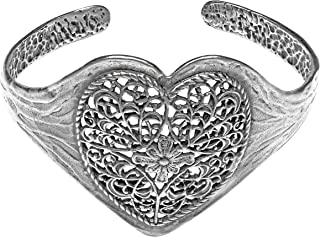 3a6ec251b Sterling Silver Lace Heart Cuff Bracelet Paz Creations Fine Jewelry, Made  in Israel