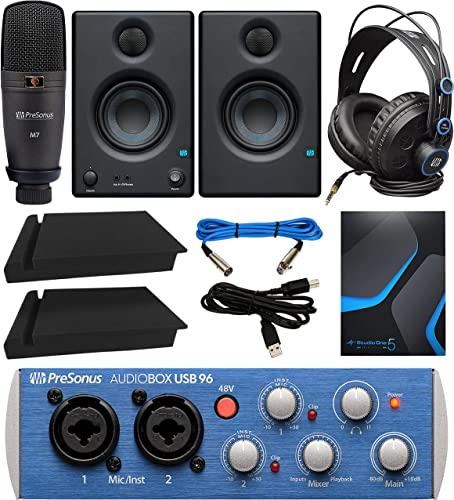 2021 PreSonus AudioBox Studio outlet sale Ultimate Bundle Complete Recording Kit with Studio Monitors and high quality Studio One Artist, and Blucoil 2-Pack of Acoustic Isolation Pads online sale