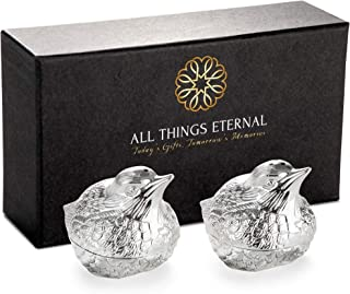 Decorative Salt and Peppers Shakers, Set of 2, Silver Plated Metal - Mini S & P Holders for Weddings, Dinner Parties - Cute Kitchen and Dining Accessories - Love Bird Collection