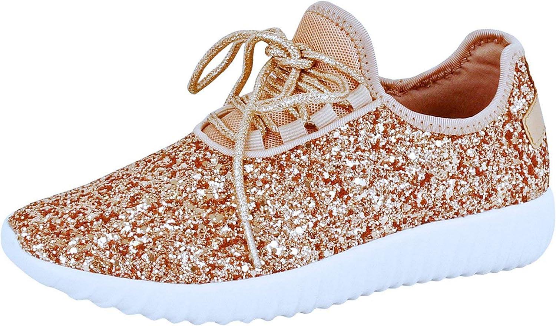 Guilty Heart   Womens Fashion Glitter Metallic Lace up Slip On Wedge Platform Sneaker