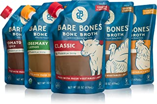 Bare Bones Bone Broth for Cooking and Sipping Sampler, 100% Grass-Fed and Pasture Raised, Organic, Protein and Collagen Rich, Keto Friendly, Flavor Variety, 16 oz, Pack of 5