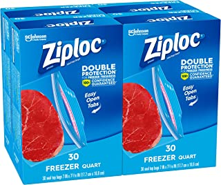 Ziploc Freezer Bags, Quart, 4 Pack, 30 ct (120 Total Bags)