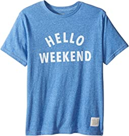 The Original Retro Brand Kids - Hello Weekend White Print Short Sleeve Tee (Big Kids)
