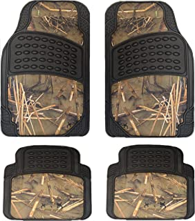 Muddy Water Camouflage Set of 4-Piece Car Truck Floor Mat Set - Universal Fit All Weather WaterProof Rubber Material with Muddy Water Forest Pattern Black Color