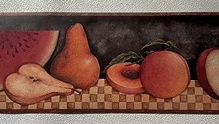Country Fruit Apples Pears Wallpaper Border – Brown Checks 30902310