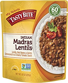 Tasty Bite Indian Entree Madras Lentils 10 Ounce (Pack of 6), Fully Cooked Indian Entrée..