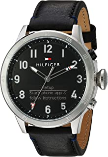 Tommy Hilfiger Men's Black Dial Leather Band Watch - 1791299, Analog-Digital Display