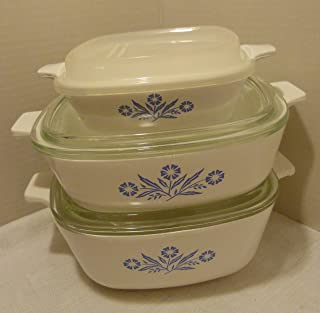 Corningware Vintage Set of 3 Cornflower Blue Casserole Dishes with Lids (6 Pieces) Made in USA