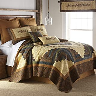 Full/Queen Quilt - Cabin Raising Pine Cone by Donna Sharp - Lodge Quilt with Colorful Patchwork - Fits Queen Size and Full Size Beds - Machine Washable