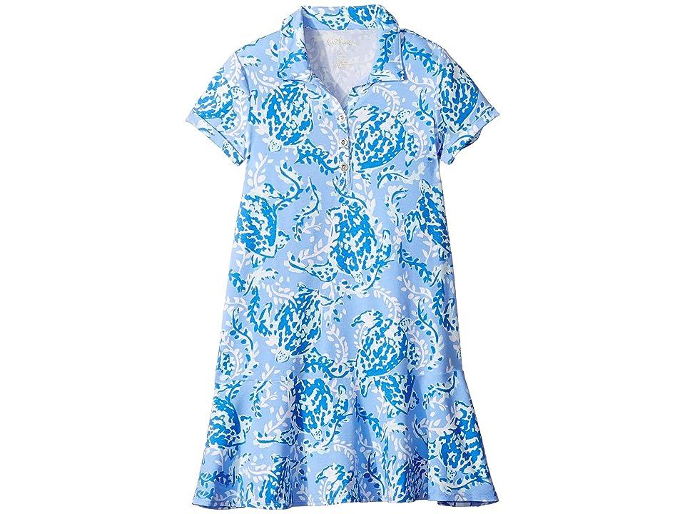 Lilly Pulitzer Kids UPF 50+ Mini Sadie Polo Dress (Toddler/Little Kids/Big Kids) (Blue Peri Turtley Awesome) Girl