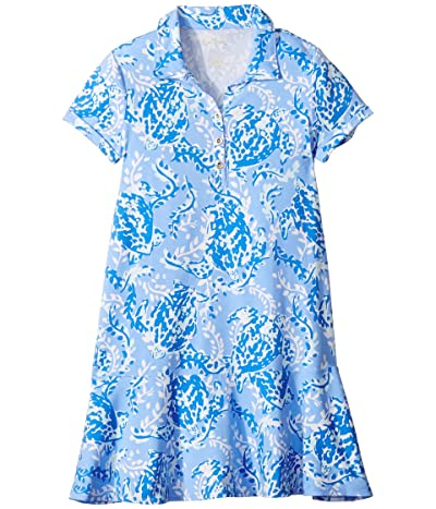 Lilly Pulitzer Kids UPF 50+ Mini Sadie Polo Dress (Toddler/Little Kids/Big Kids) (Blue Peri Turtley Awesome) Girl