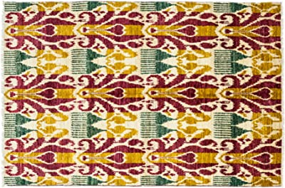 """Solo Rugs Ikat Hand Knotted Area Rug, Wool, Multicolor, 5' 1"""" x 8' 4"""""""
