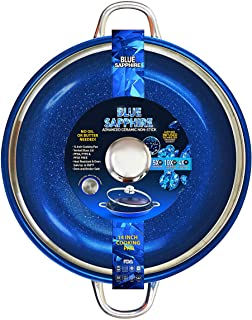 Blue Sapphire Frying Pan 14-Inch With Tempered Glass Lid Non Stick Induction Base