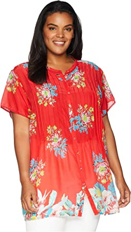 Plus Size Flower Arch Button Down