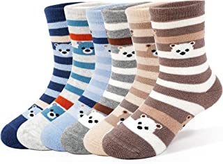Boys Thick Cotton Socks Kids Winter Seamless Socks 6-Pack
