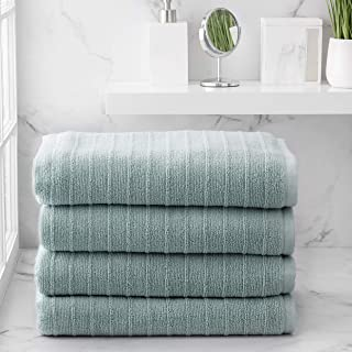 Welhome James 100% Cotton 4 Piece Bath Towels | Mineral Blue | Stripe Textured | Supersoft & Durable | Highly Absorbent & ...