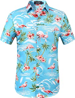 Men's Flamingos Casual Short Sleeve Aloha Hawaiian Shirt