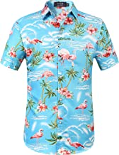 SSLR Men's Flamingos Casual Short Sleeve Aloha Hawaiian Shirt