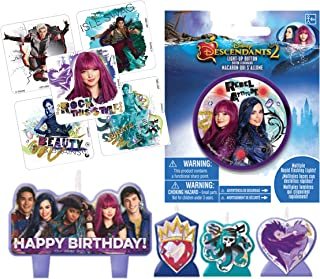 DESCENDANTS Birthday Party Candle Set & Light-Up Button for Guest of Honor! Plus Favor Stickers!