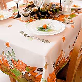 Non-Iron Stain Resistant Thanksgiving Table Cloth Wrinkle Free Fall Table Cover Home Dining Autumn Decor Table Protection - Ivory Thanksgiving Decorations (Thanksgiving Tablecloth, Square 70