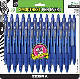 Zebra Pen Z-Grip Retractable Ballpoint Pen, Medium Point, 1.0mm, Blue Ink, 24 Pack