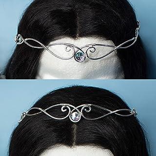 Ultan tiara elfica vichinga in acciaio inossidabile argento e pietre