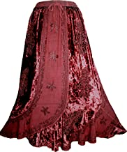552 Sk Women's Elastic Waistband Velvet Rayon Long Medieval Renaissance Vintage Skirt Maxi
