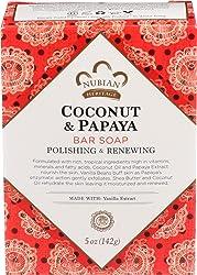 Nubian Heritage, Soap Bar Coconut Papaya Vanilla Beans, 5 Ounce