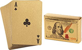 Juvale Gold Playing Cards - 2 Standard Decks, Waterproof Gold Foil Plastic Poker Cards, Hundred Dollar Cash Bill Design, Luxury Card Game with Gift Box