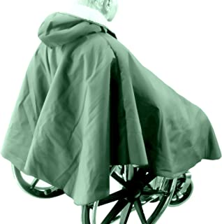 Warm Winter Lined Poncho for Wheelchair Users (Dark Green)