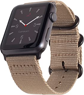 Naylon Apple Watch NATO stil kayış toka ve Adapter Carterjett Bej CJ2-XL-nyl-tan