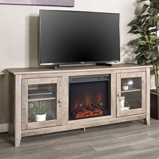 Walker Edison Furniture Company Rustic Wood and Glass Fireplace Stand for TV's up to..