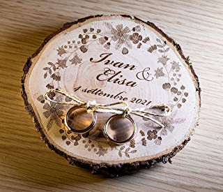 Porta fedi su fetta di legno, circa 10/12 cm, portafedi personalizzato per matrimonio o altro evento speciale anniversari...