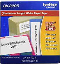 "Brother Genuine, DK-2205 Continuous Paper Label Roll, Cut-to-Length Label, 2.4"" x 100 Feet, (1) Roll Per Box"