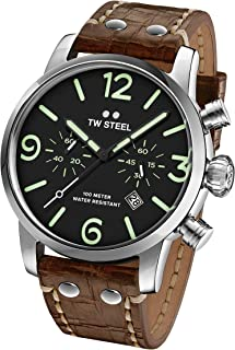 TW Steel Men's Maverick Stainless Steel Quartz Watch with Leather Calfskin Strap, Brown, 22 (Model: MS14)