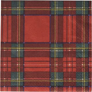 Entertaining with Caspari Royal Plaid Luncheon Napkins, Red, (Pack of 20)