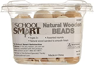 School Smart Wood Assorted Round Carved Bead, Natural, Pack of 100