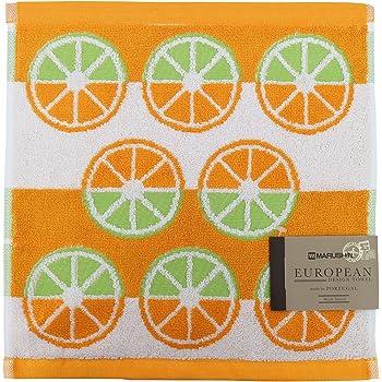 丸眞 ハンドタオル ポルトガル製 34×36cm オレンジパターン 綿100% 0366076900