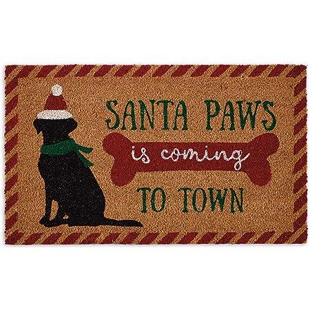 DII Natural Coconut Coir Holiday Cheer Doormat, 18x30, Santa Paws