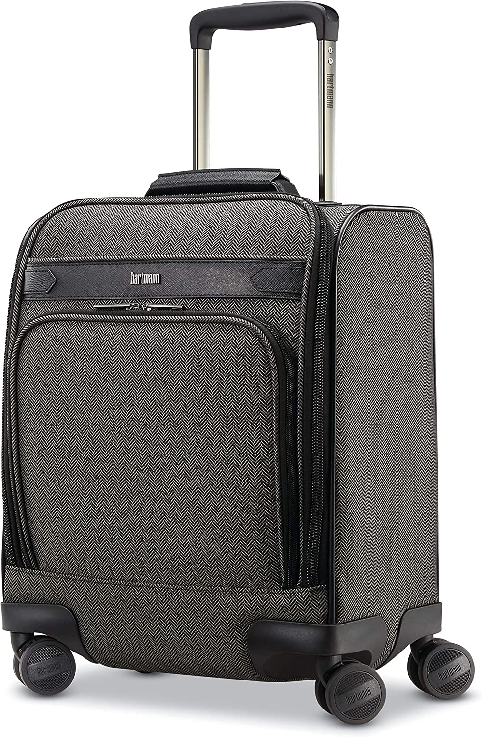 Hartmann Deluxe Underseat Max 61% OFF Carry On Black Fresno Mall Spinner O Herringbone