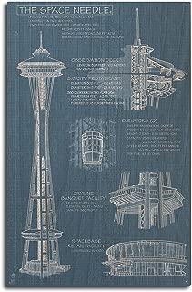 Lantern Press Seattle, Washington - Space Needle Technical Drawing (Blueprint) (10x15 Wood Wall Sign, Wall Decor Ready to Hang)
