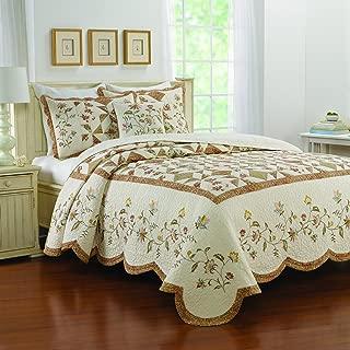 bedspread floral stitch tan