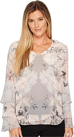 Calvin Klein - Print Ruffle Long Sleeve Blouse